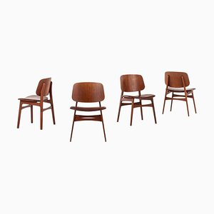 Danish Model 122 Dining Shell Chairs by Børge Mogensen for Søborg Møbler, 1960s, Set of 4