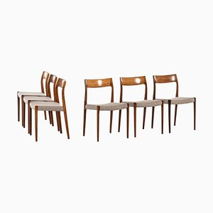 Danish Rosewood Model 77 Dining Chairs by Niels Otto Møller, 1950s, Set of 6
