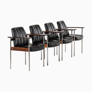 Norwegian Rosewood Model 1001 Armchairs by Sven Ivar Dysthe for Dokka Møbler, 1959, Set of 4
