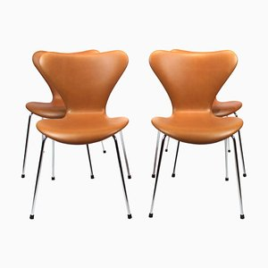 Model 3107 Chairs by Arne Jacobsen for Fritz Hansen, 1960s, Set of 4
