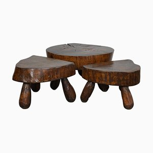 Vintage Polished Walnut Log Coffee Tables, 1970s, Set of 3