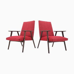 Brussels Style Red Armchairs, Czechoslovakia, 1960s, Set of 2