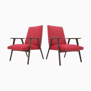 Rote Sessel im Brüsseler Stil, Tschechoslowakei, 1960er, 2er Set