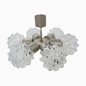 Nickel and Glass Chandelier from Kamenicky Senov, Czechoslovakia, 1970s