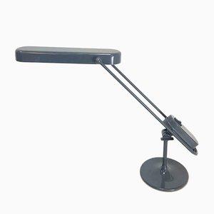 Lámpara de escritorio industrial vintage ajustable de metal gris, años 80