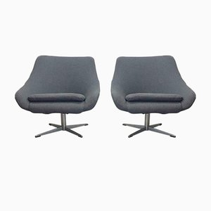 Vintage Anthracite Grey Wool Bucket Seat Armchairs, 1960s, Set of 2