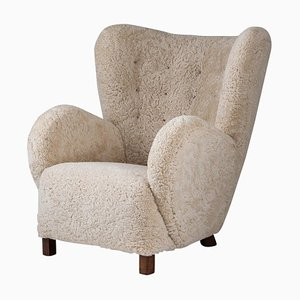 Mid-Century Danish Lounge Chair in Sheepskin, 1940s