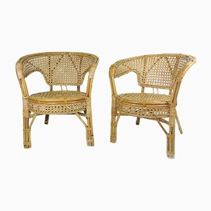 Cane and Rattan Armchairs, 1960s, Set of 2