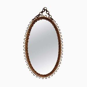 Italian Oval-Shaped Rattan Wall Mirror, 1960s