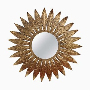 Spanish Gilt Metal Sunburst Mirror, 1960s