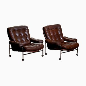 Chrome and Brown Leather Lounge Chairs from Scapa, Sweden, 1970s, Set of 2