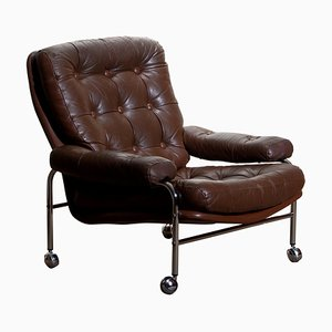 Chrome and Brown Leather Easy or Lounge Chairs from Scapa, Sweden, 1970s, Set of 2