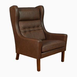 Mid-Century Danish Dark Brown Leather Wingback Armchair from Vemb, 1970s