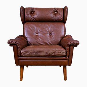 MId-Century Danish Tan Brown Leather Armchair from Skippers Mobler, 1970s