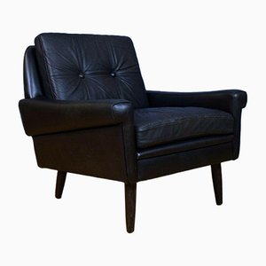 Mid-Century Danish Black Leather Armchair from Skippers Mobler, 1960s