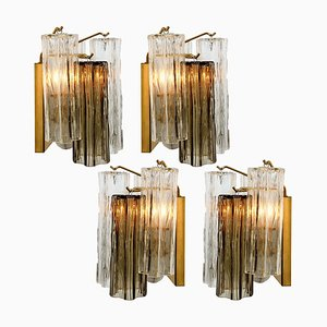 Smoked and Clear Glass Wall Lights by J.T. Kalmar, Austria, 1960s