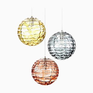 Lampes à Suspension en Verre de Murano de Doria Leuchten, 1960s, Set de 3