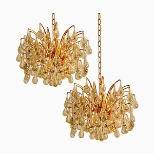 Large Brass and Crystal Chandeliers from Ernst Palme, Germany, 1970s, Set of 2
