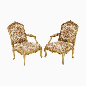 Louis XV Style Armchairs in Giltwood, 1880s, Set of 2