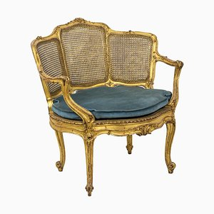 Louis XV Style Marquise Armchair in Giltwood, 1880s