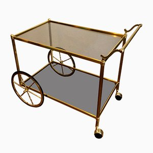 Golden Bar Cart with Glass Trays, 1960s