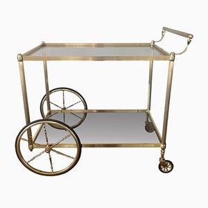 Golden Brass Bar Cart with 3 Floors in Glass, 1960s