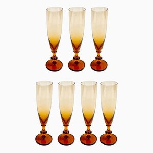 Ombre Champagne Flutes, 1970s, Set of 7