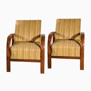 Art Deco Armchairs with Reclining Backrest, Set of 2