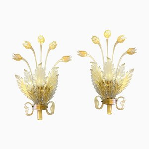 Murano Glass with Gold Leaf, Tulips, Leaves & Bow Deco Sconces from Seguso, 1930s, Set of 2