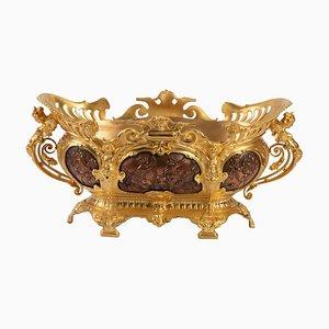 Antiker Pflanzer aus vergoldeter Bronze und kupferner Patina aus Bronze