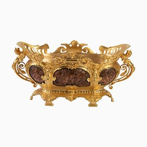 Antique Planter in Gilt Bronze and Copper Patina Bronze