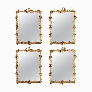 Antike Spiegel mit Geschnitztem & Vergoldetem Holz, 4er Set