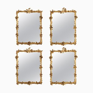 Antique Carved and Gilded Wooden Mirrors, Set of 4