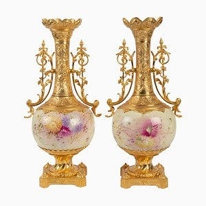 Antique Gilt Bronze and Painted Porcelain Vases, Set of 2