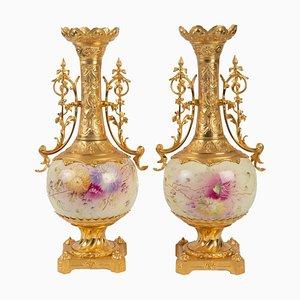 Vases Antiques en Bronze Doré et Porcelaine Peinte, Set de 2