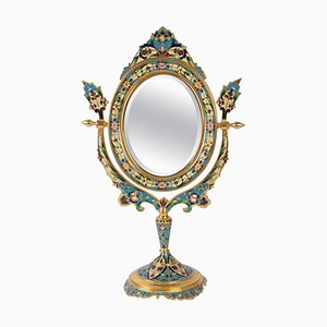 19th Century Golden Bronze and Cloisonné Mirror