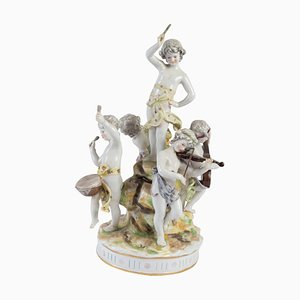 Antique Porcelain Group the Music Players