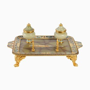 Antique Inkwell in Gilded and Cloisonné Bronze and Onyx