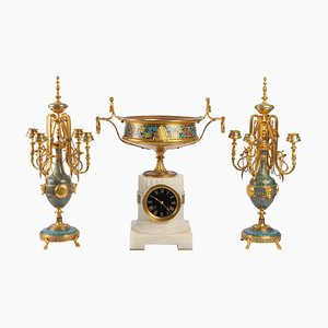 Cloisonné und Emaille Bronze Set von F. Barbedienne