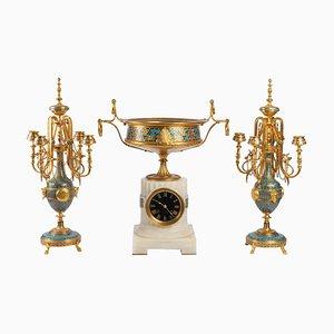 Set Cloisonné e bronzo smaltato di F. Barbedienne