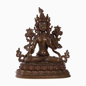 Indische Skulptur Göttin aus patinierter Bronze