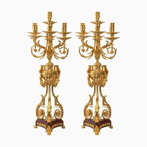 Candelabras in Gilt Bronze and Griotte Marble, Set of 2