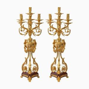 Kerzenständer aus Vergoldeter Bronze und Griotte Marmor, 2er Set