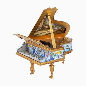 Antique Miniature Piano Music Box with Decoration of Gallant Scenes