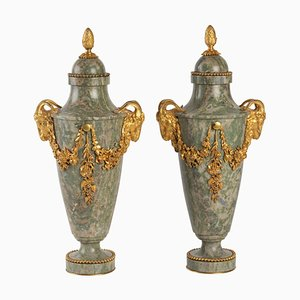 Marble and Gilt Bronze Cassolettes, Set of 2