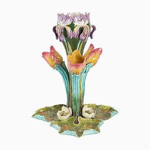 Art Nouveau Solifleur Becher aus Barbotine