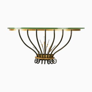 Golden and Antique Wrought Iron & Crystal Pendants Wall Console, 1950s