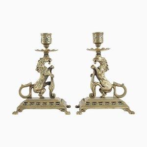 19th Century Napoleon III Candleholders in Bronze, Set of 2