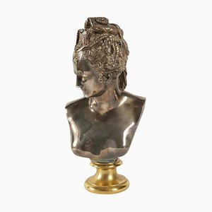 Buste of Diane in Bronze and Silver, 1940s