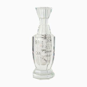 Chinoiserie Vase aus Kristallglas, 1940er